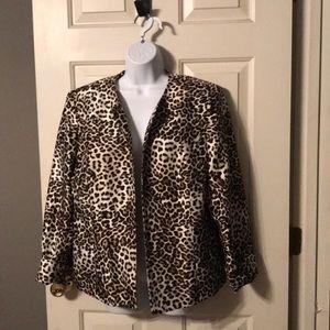 Kasper Leopard Print Jacket Sz 16 EUC